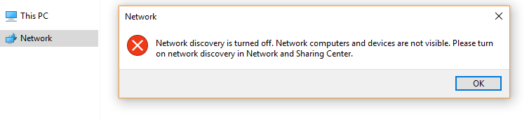network discovery error