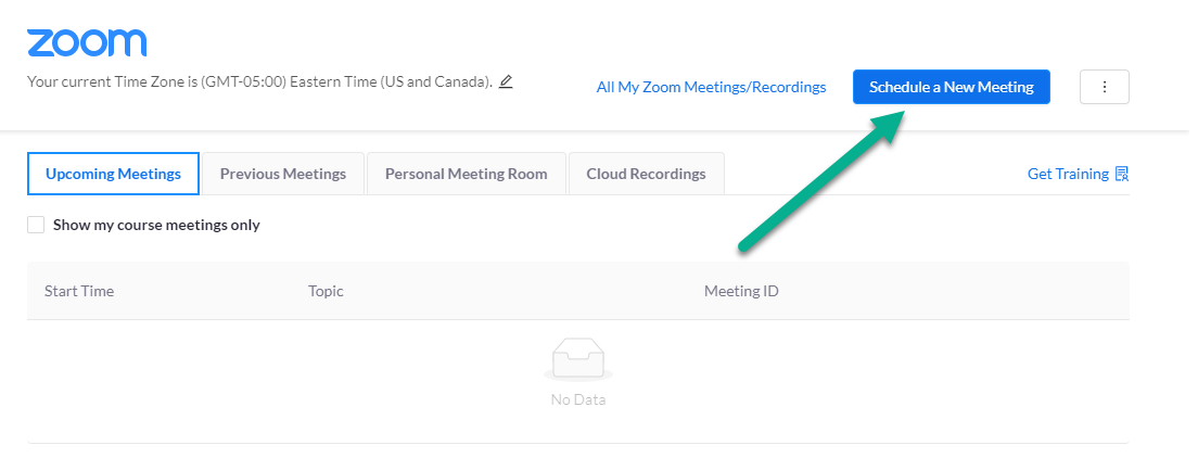 Zoom page where Schedule a new meeting is a button in the top right of the page. Below are tabs for Upcoming Meetings, Previous Meetings, Personal Meeting and Cloud Recordings are available.