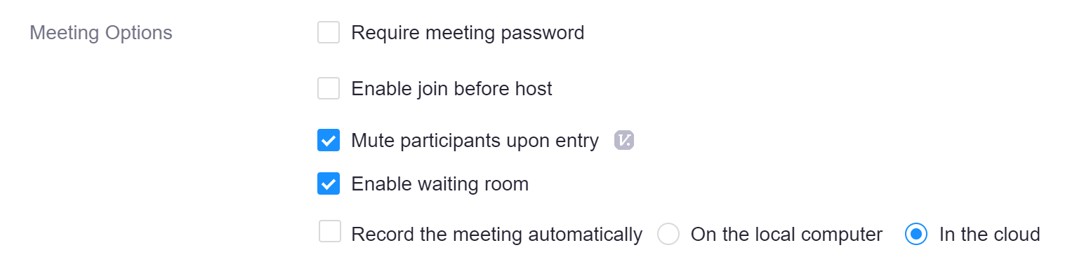 Zoom meeting options with recommended settings of Mute participants and Enable Waiting room. While automatically recording is not recommended, if you do plan to record please save it to the cloud.