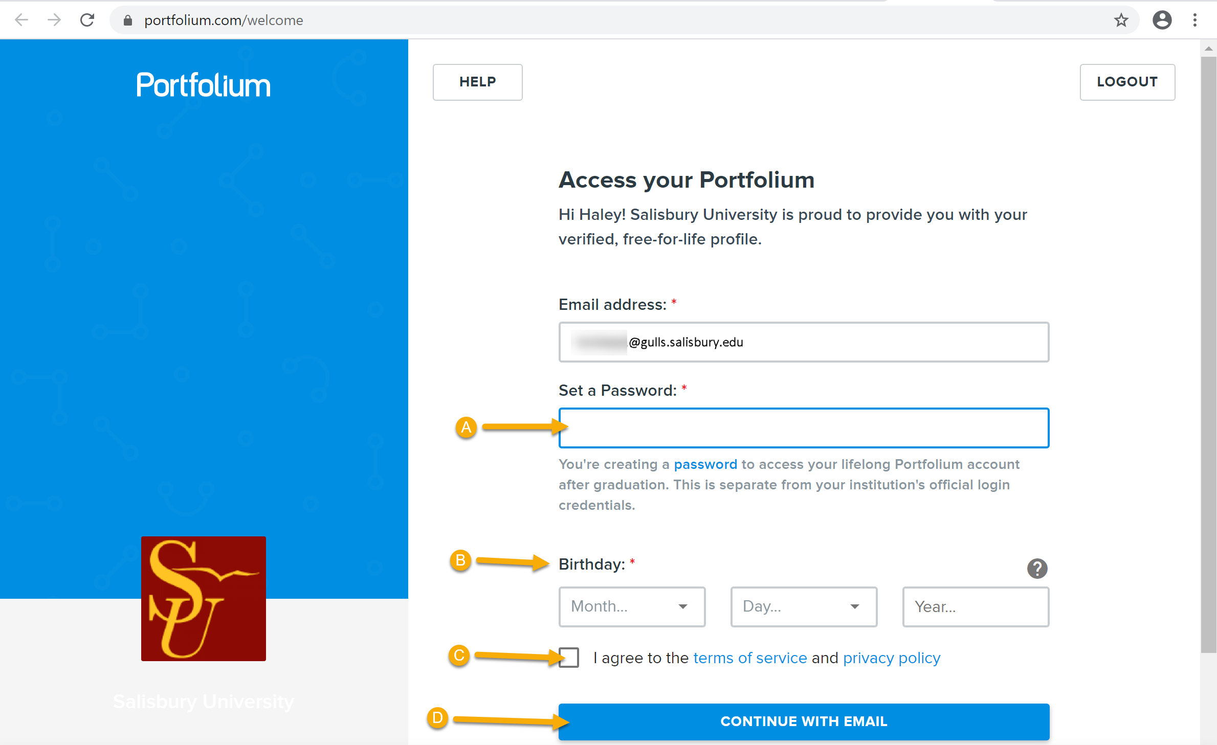 Portfolium authorization with the SU email autofilled. Additional prompts require creating a password, adding a birthdate, accepting Portfolium policies, and continuing to Portfolium.com when the information is entered.